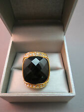 Joan Rivers Huge Stone Ring Rhinestone Cocktail Black Faceted Lucite Size 5.75