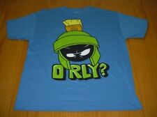 NEW MARVIN THE MARTIAN ORLY BLUE COTTON T-SHIRT MENS S LOONEY TUNES CARTOON