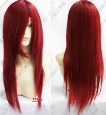 New Long Dark RED Cosplay Straight women's hair full Wig/Wigs 60cm