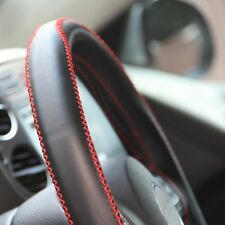 Black PVC Leather Steering Wheel Red Stitch Wrap Cover w/ Needle DIY Lexus Mazda