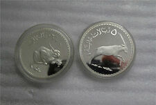 Oman Wildlife Conservation Lynx Oryx PROOF Sterling Silver 2.5- 5 Rial coin 1976