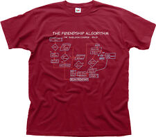 Friendship Algorithm Sheldon Big Bang Theory burgundy cotton t-shirt 9963