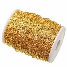 5m Gold Plated Iron Metal Cable Open Link Chain Findings For Jewelry Making