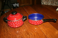Vintage WMF Stahlemail Pot w/ Lid and Pan No Lid Made in Germany Cookware