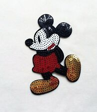 1x sequins Mickey Mouse patch Disney cartoon Iron On Embroidered Applique