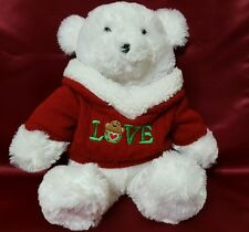 DAN DEE COLLECTORS CHOICE WHITE HOLIDAY BEAR PLUSH With LOVE RED HOOD SWEATER