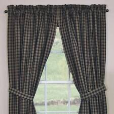 UNLINED PANEL CURTAINS 72X63 IN BLACK STURBRIDGE PLAID COTTON PRIMITIVE COUNTRY