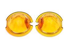 FACETED GEM CUT AMBER GLASS LENS FOR BULLET TURN SIGNAL LIGHTS HARLEY BOBBER 1PR