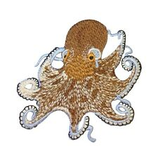 Brown Octopus Patch Exotic Marine Aquarium Ocean Animal Craft Iron-On Applique