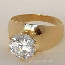 Big 3 carat 14k Yellow Gold Solitaire round man made Diamond Engagement Ring S7