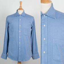 MENS TOMMY HILFIGER SHIRT BLUE FINE PATTERN SMART COLLAR WORK SUIT OFFICE L