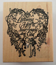 Psx G-1306 Listening Hearts Hear Angels Sing Wooden Rubber Stamp