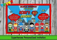 SUPERHEROES PERSONALISED INVITATIONS INVITES CARDS BIRTHDAY PARTY BATMAN SPIDERM