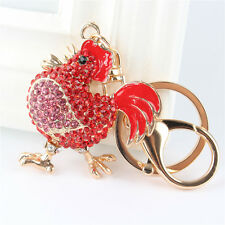 Red Cock Rooster Charm Pendant Crystal Purse Bag Key Chain Lover Friend Gift