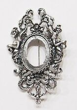 4 of 25x18 mm Antique Silver Victorian Muses Graces Brooch Pin Pendant Settings
