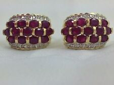 RUBIES AND DIAMONDS SET IN 14K YELLOW GOLD EARRINGS