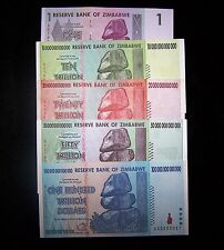 Zimbabwe 10,20,50&100 Trillion Dollars+1 Dollar banknotes-Paper money currency