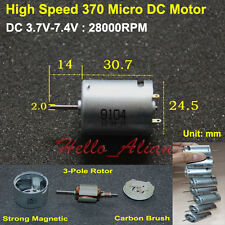 Micro 370 Carbon Brush Motor 28000RPM High Speed Strong Magnetic 3-Pole Rotor