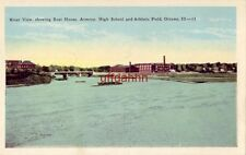 RIVER VIEW, SHOWING BOAT HOUSE, ARMORY, HIGH SCHOOL & ATHLETIC FIELD, OTTAWA, IL