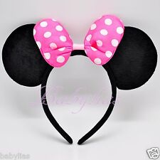 Minnie Mouse Headband Ears Black PINK Polka Dot Bow Party Favors Costume Mickey