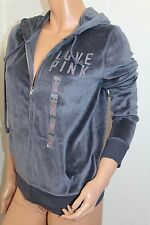 VICTORIA'S SECRET Pink Women NWT Velour Rhinestone Bling Hoodie Small Color Gray