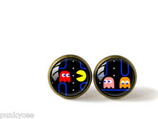 Retro Style Handmade Glass Dome Stud Earrings, PAC-MAN, A-355