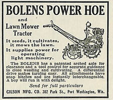1924 BOLENS POWER HOE GARDEN TRACTOR LAWNMOWER AD GILSON PORT WASHINGTON WI