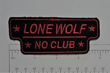 Lone Wolf No Club Red Outlaw Biker Funny Motorcycle Iron On Small Patch