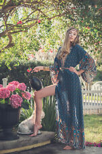 Blue Maxi Dress Bohemian Boho Hippie Festival Beach Spring Summer Retro Vintage
