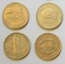 4 x £1 coins. Gibraltar 04 & 08. Isle of Man 1983 Peel Town Commissioners & 1994