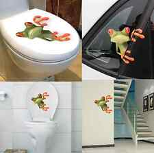 3D Stereo Cute Green Frog Funny Removable Decal Toilet Car Wall Sticker Decor