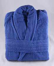 Mid Blue Terry Towelling Bath Robe Dressing Gown 100% Cotton Medium Unisex
