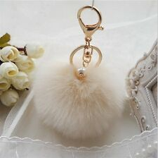 Beige 8CM Pom Ball Handbag Faux Rabbit Fur Fluffy Car Pendant Keyring A#