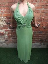 ASPEED LONG JADE GREEN BODYCON GOTHIC STRETCHY COCKTAIL PARTY PROM DRESS ~ UK XS