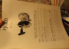 VINTAGE FJORD S-110 TROLLING FISHING REEL PAPER W/ SCHEMATICS