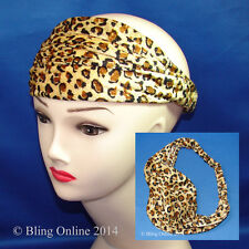 VELVET FEEL LEOPARD PRINT FABRIC STRETCH HEAD BAND HAIR HEADWRAP HEADBAND WRAP