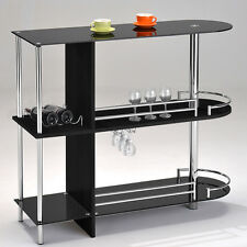 Kings Brand Furniture Bar Table with Two Black Tempered Glass Shelves ~New~