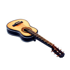 Mini Miniature Wooden Acoustic Guitar Decor Collection With Case Stand