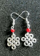 Chinese *ENDLESS KNOT Sacred Buddhist Symbol * red beads Tibetan Silver Earrings