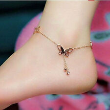 Fashion Women 18K Rose Gold Anklet Butterfly Ankle Chain Jewellery
