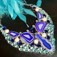 MASSIVE SOLAR QUARTZ/TANZANITE/BLUE TOPAZ/PEARL RUNWAY STATEMENT BIB NECKLACE