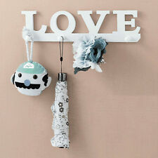 4Hooks White LOVE Coat Hat Clothes Robe Key Holder Rack Wall Hanger Home Décor A
