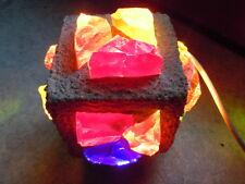 Lampe cubique en pierre et verre sculpture goût Albert Tormos space age 1970