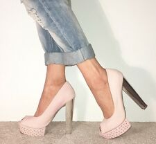 TOPSHOP  Blush Pale Pink Soft Leather Peep Toe Studded Platform Silver Heels 6