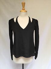 Ladies Boulee Long Sleeve Black Blouse With Open Shoulders, Fly Away Hem Size 2