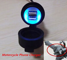 Motorcycle Handbar 12v 3A Dual USB LED Mobile Phone GPS Charger Power Adapter