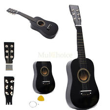 "New 23"" Plywood Acoustic Mini Guitar 6 String for Kids Beginners Practice Black"