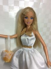 90's Barbie White/gold Barbie Tag Skater Dress. New Shoes.Soft Tangle Fee Hair.