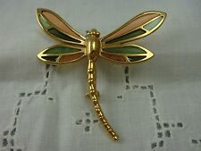 VINTAGE PLIQUE A JOUR PEACH GREEN GOLD TONE DRAGONFLY PIN BROOCH