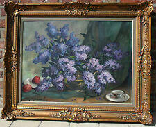 Vintage flanders school oil canvas painting signed Floral still live 1950's